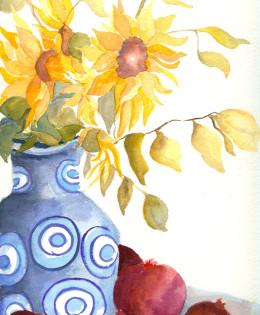 Sunflower Pomegranate Blue Vase